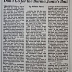 Don't Go for the Burma Junta's Bait [International Herald Tribune, July 20, 1994]