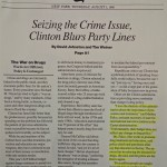 Seizing the Crime Issue, Clinton Blurs Party Lines [New York Times, August 1, 1996]