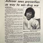 Adviser sees prevention as way to win drug war [Indianapolis News, April 21, 1993]
