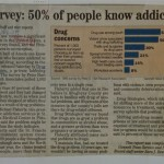 Survey: 50% of people know addict [North Hills News Record, April 16, 1995]