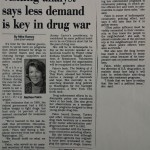 Visiting analyst says less demand is key in drug war [Indianapolis Star, April 21, 1993]